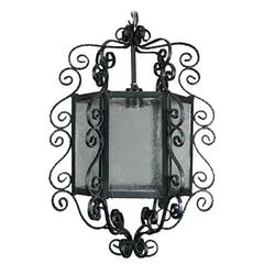 Italian Handmade Six Panels Wrought Iron Lantern