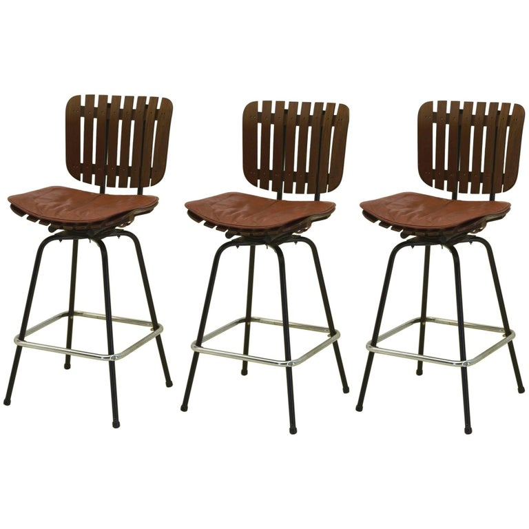 set of three bar stools in the style of arthur umanoff for sale at 1stdibs. Black Bedroom Furniture Sets. Home Design Ideas