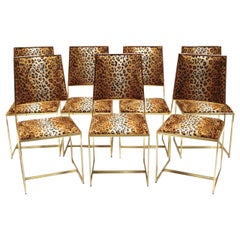 Set of Six Plus One Chair Offered in Gilt Brass and Cheetah Print