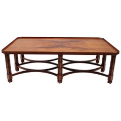 Large English Style Mahogany Coffee Table with Bambou Style Legs, 1980 Period