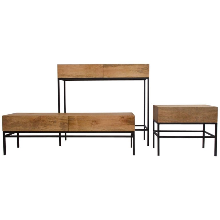 Set of Three Wooden Consoles with Black Varnished Steel Base For Sale