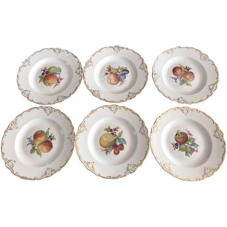 Set of Six Antique Meissen Porcelain Floral Cabinet Plates Marcaloni Period For Sale