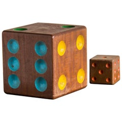 Collection of Two Vintage Wooden Dice from France, circa 1940