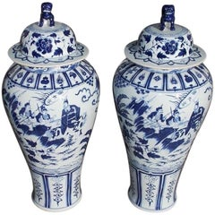Pair of Monumental Chinese Porcelain Glazed Foo Dog Temple Urns, 20th Century