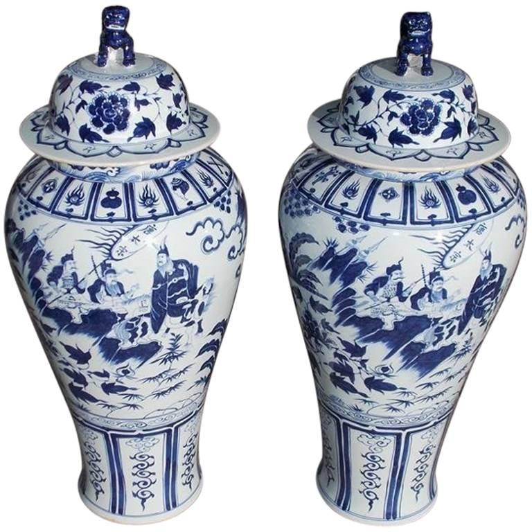 Pair of Monumental Chinese Porcelain Glazed Foo Dog Temple Urns, 20th Century For Sale