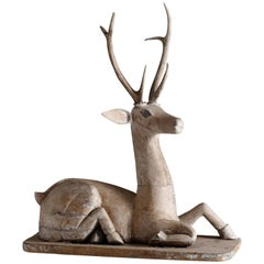 Antique Carved Wooden Deer Sculpture, Sitting Position