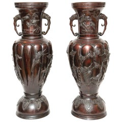 Pair of Enormous Meji Bronze Urns