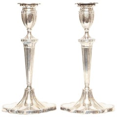 Pair of Tall English Sterling Candlesticks