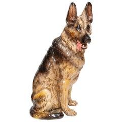 Terra Cotta Lifesize German Shepherd Dog Sculpture