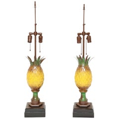 Pair of Tole Appointed Pineapple Table Lamps