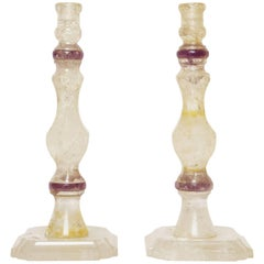 Pair of Tall Rock Crystal and Amethyst Candlesticks