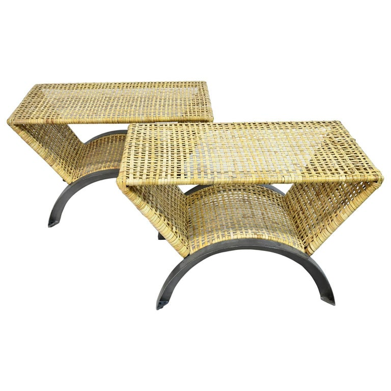 Pair of 20th Century Woven Rattan End Tables or Stools For Sale