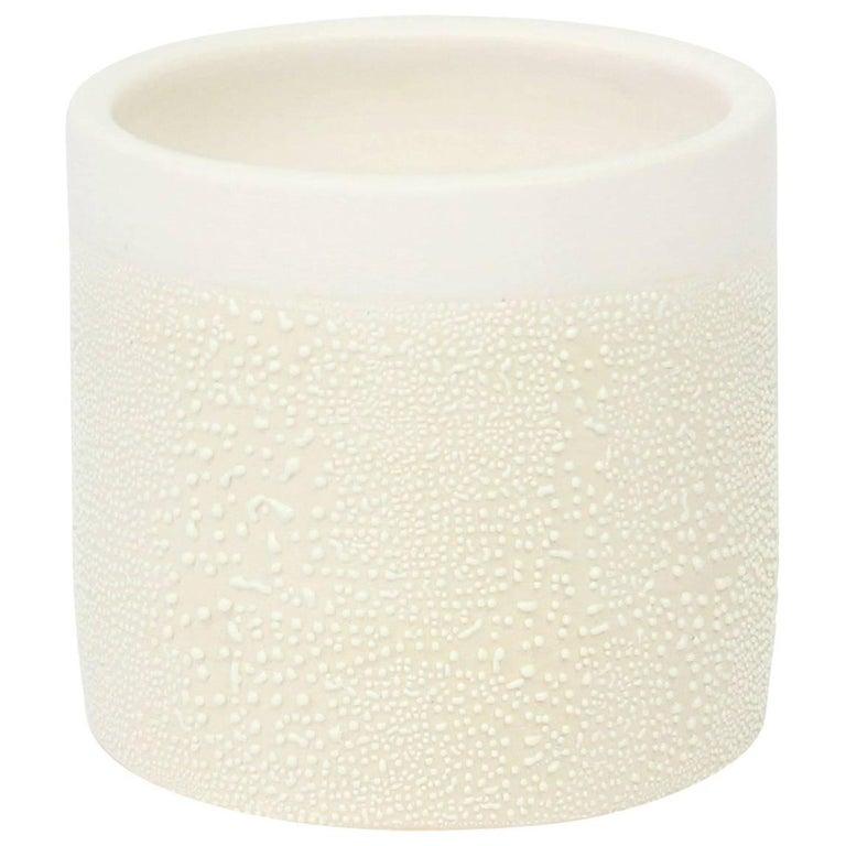 Contemporary Ceramic White Dew Glaze Cup, Handmade