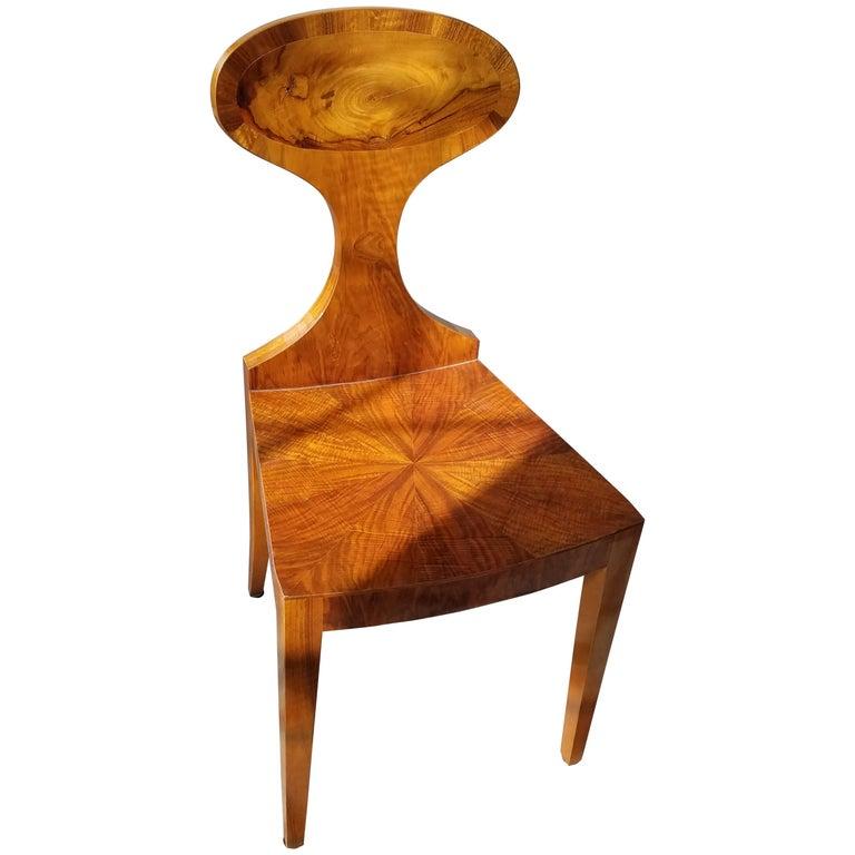 Classic Biedermeier Blossom Back Hall Chair in Walnut by Gaisbauer