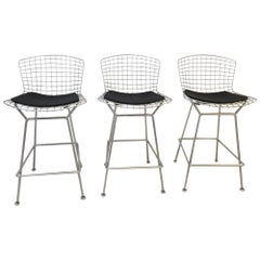 Set of Three Barstools by Harry Bertoia for Knoll