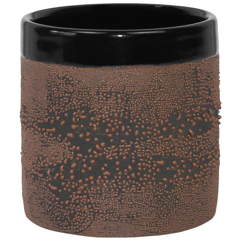 Contemporary Black Ceramic with Brown Dew Glaze Cup, Handmade