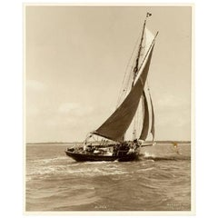 Yacht Alpha, Early Silver Photographic Print by Beken of Cowes
