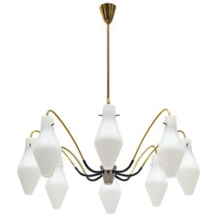 Eight-Arm Brass and Satin Glass Spider Chandelier, 1950s