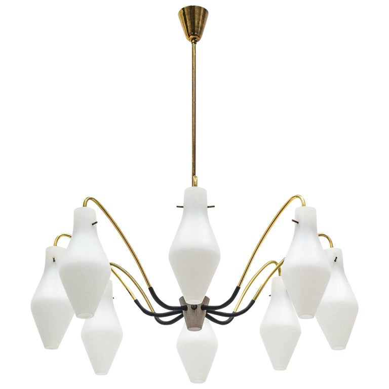 Eight-Arm Brass and Satin Glass Spider Chandelier, 1950s For Sale