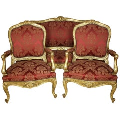 Palatial 19th Century Louis XV Style Giltwood Carved Three-Piece Salon Suite