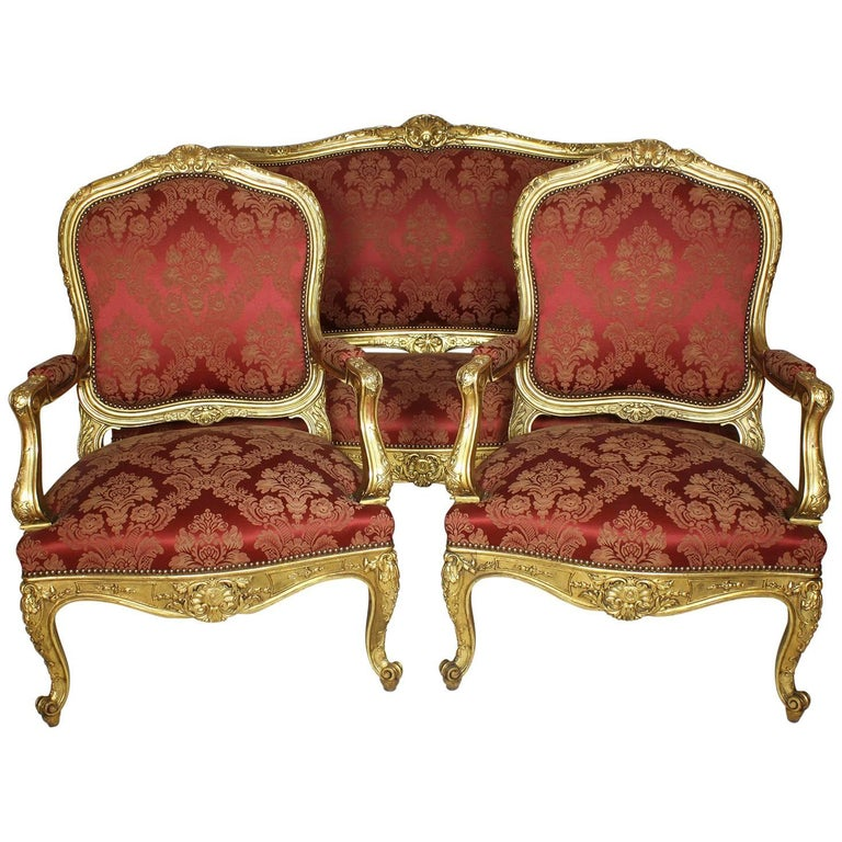 Louis XV Three-Piece Gilt Salon Suite with Aubusson Upholstery at ...