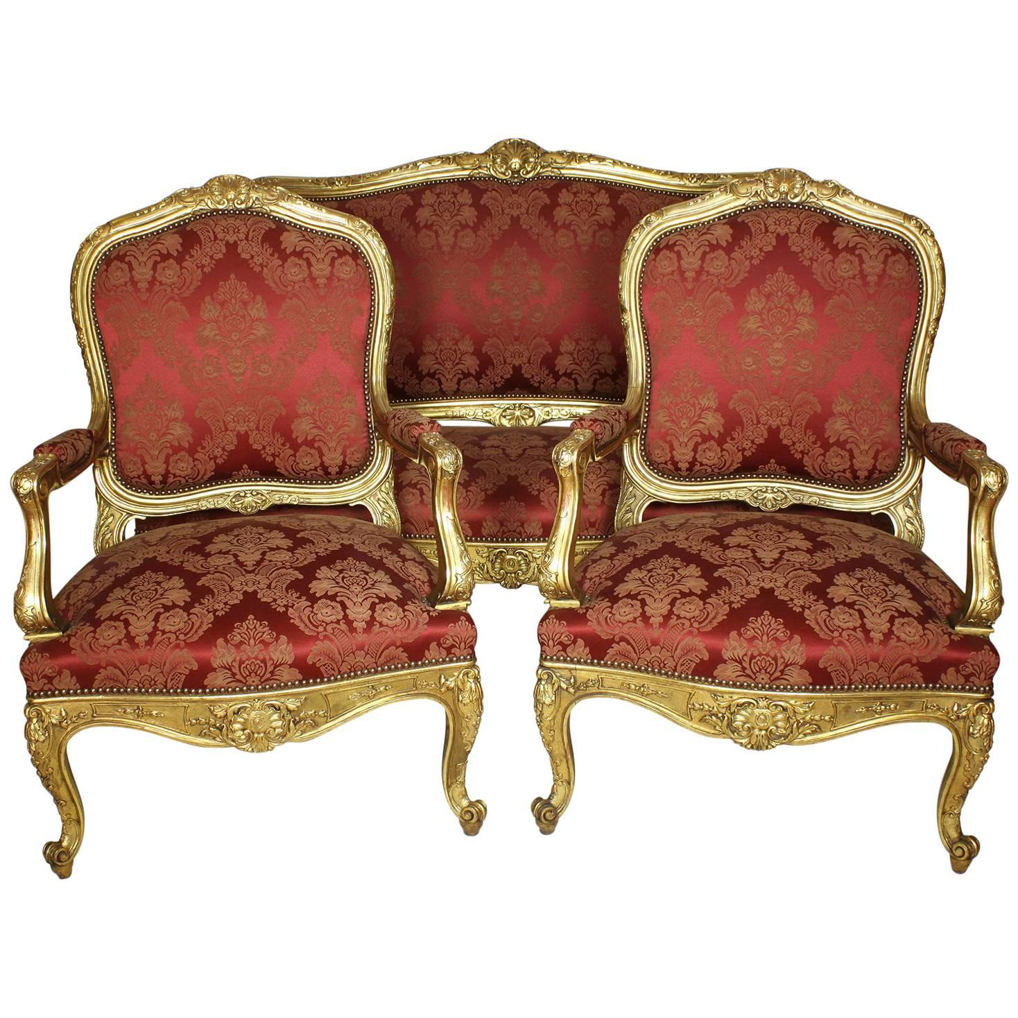 Genial Palatial 19th Century Louis XV Style Giltwood Carved Three Piece Salon Suite