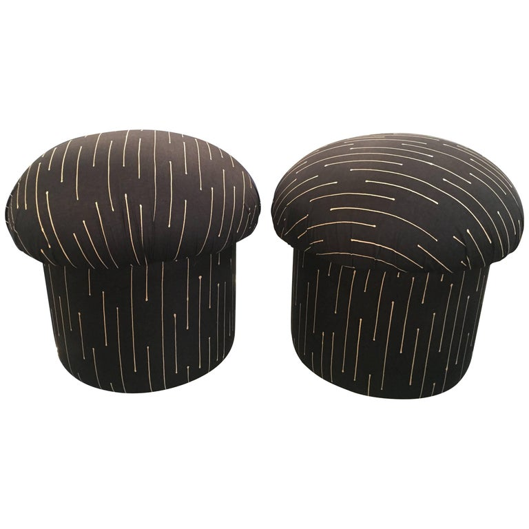 Pair of Retro Mushroom Poufs Ottoman Stools Vintage 1970s Chairs
