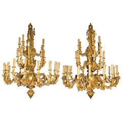 Pair of Louis XV Style Thirty-Three-Light Ormolu Figural Chandeliers
