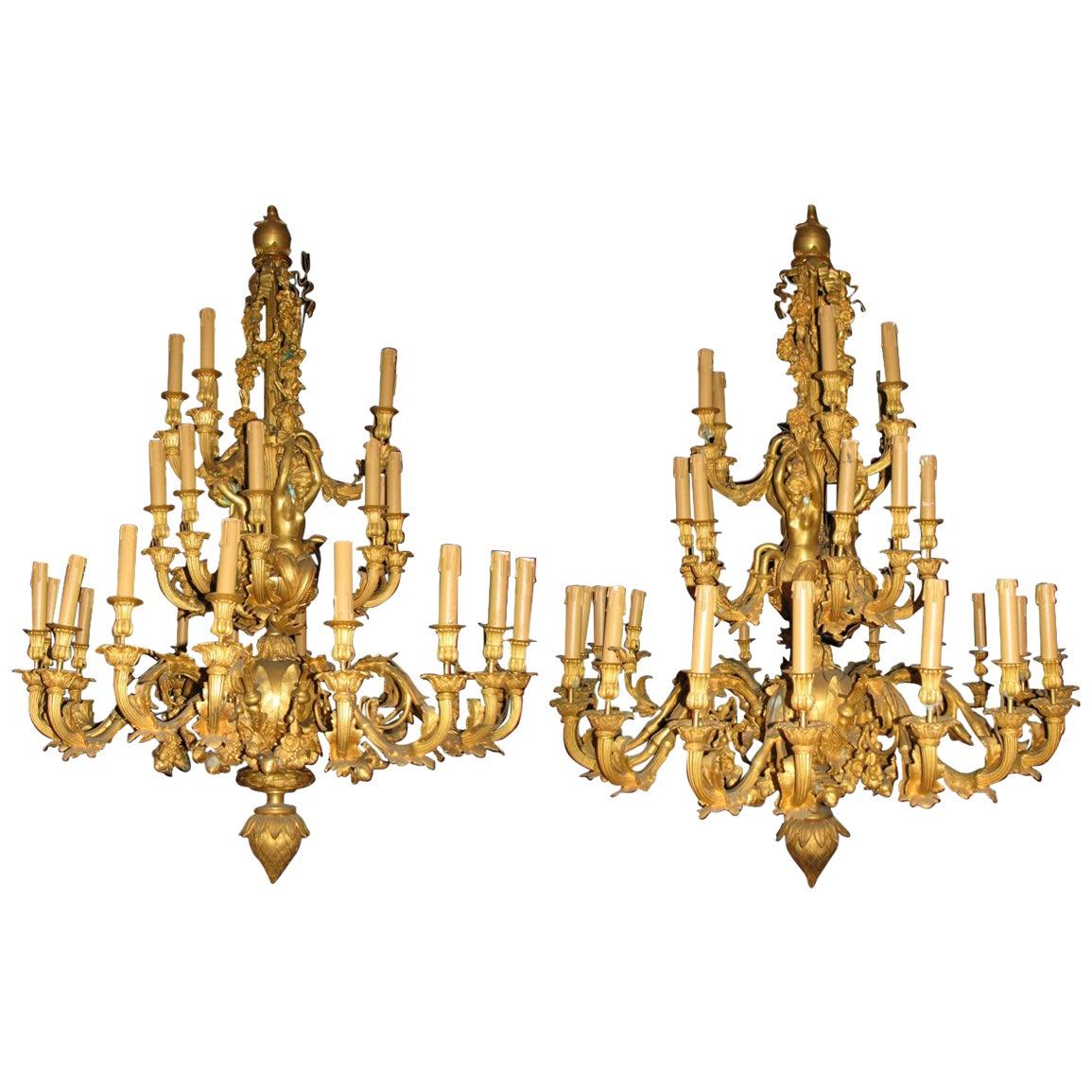 Pair of Louis XV Style Thirty-Three-Light Ormolu Figural Chandeliers