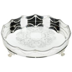 Vintage English Silver Plate Footed Barware or Serving Tray