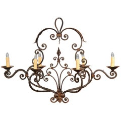 Early 20th Century French Painted Six-Light Iron Chandelier with Fleur-de-Lys