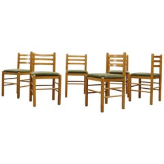 Ate Van Apeldoorn Ladder Back Dining Chairs in Olive Velvet