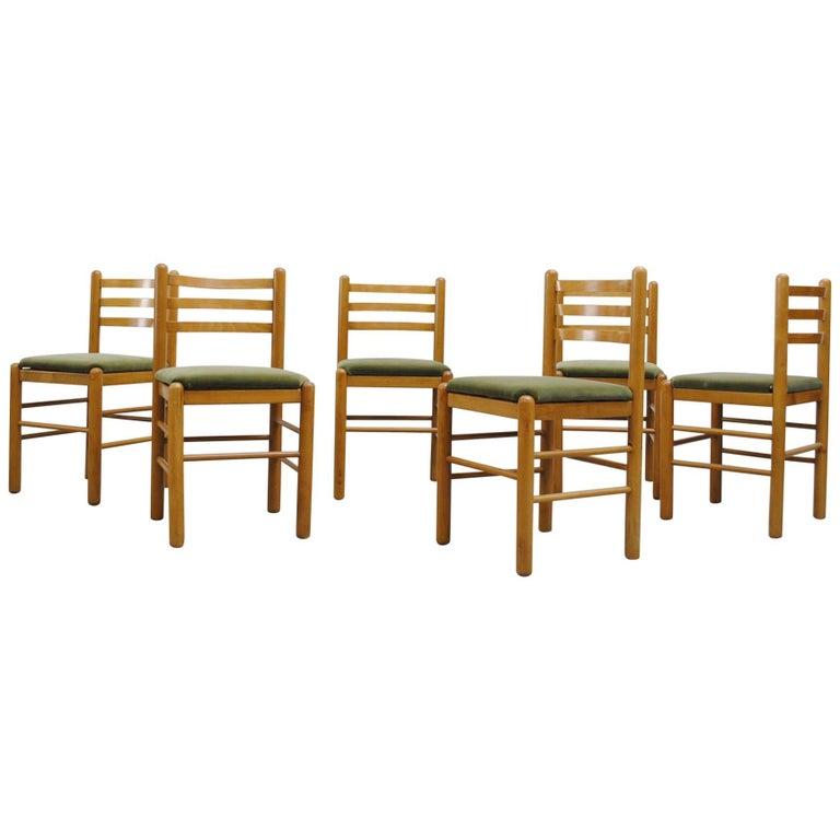 Ate Van Apeldoorn Ladder Back Dining Chairs in Olive Velvet