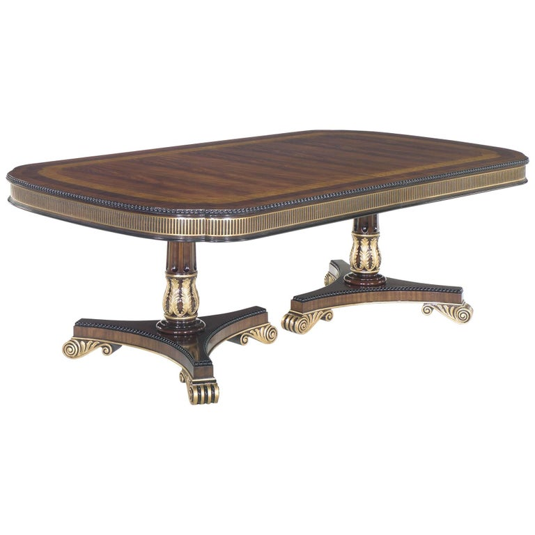 Regency Style Mahogany Dining Table, by E.J. Victor