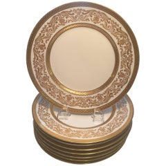 Set Eight French Gold Encrusted Service Dinner Plates
