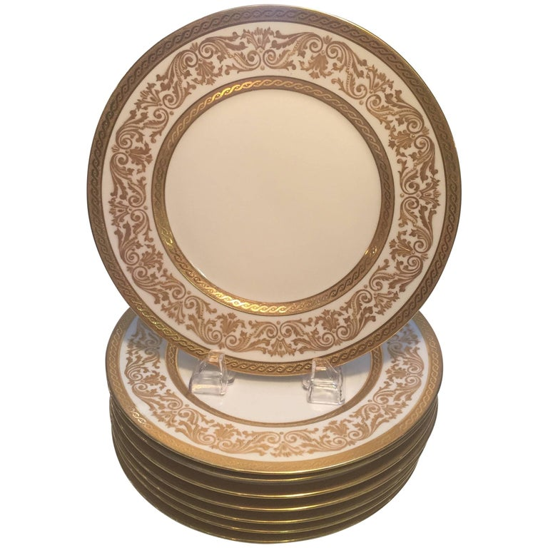 set eight french gold encrusted service dinner plates for sale at 1stdibs. Black Bedroom Furniture Sets. Home Design Ideas