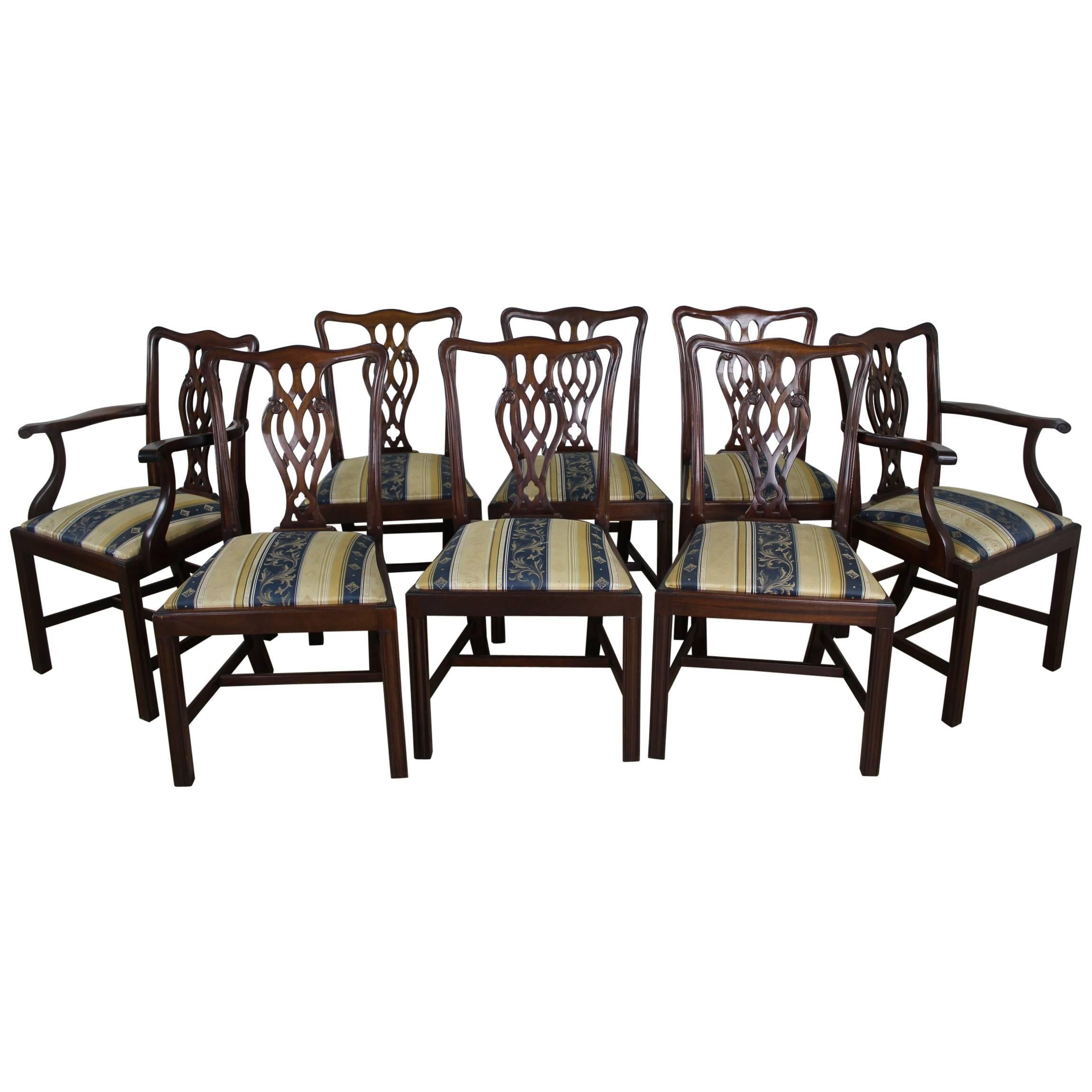 Set of Eight English Mahogany Chippendale Style Dining Chairs