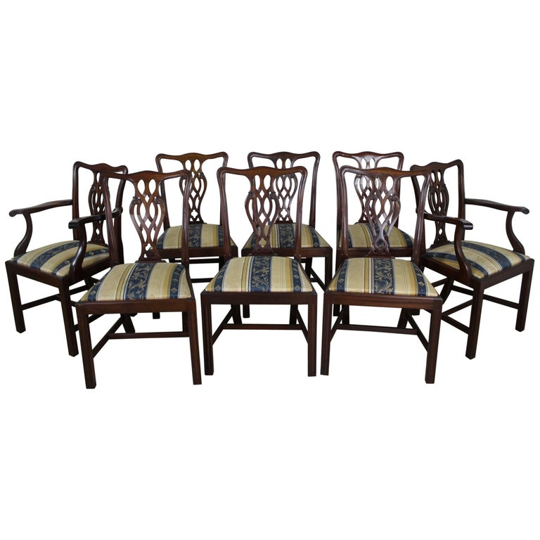Set of Eight English Mahogany Chippendale Style Dining Chairs For Sale