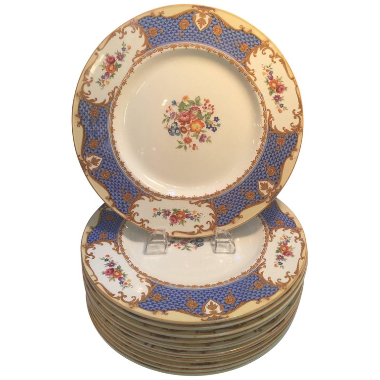 Set of Ten Hand-Painted English Service Plates
