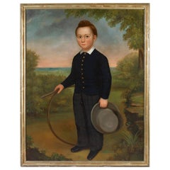 Portrait of a Young Boy Holding a Hoop and a Hat