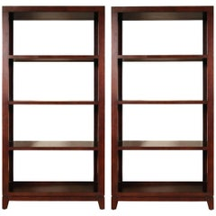 Modern Oak Veneered Bookcases