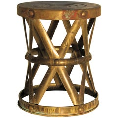 Brass X-Drum Stool Taboret