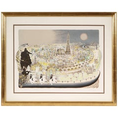 Artist Signed Modern Color Print with Lippezaner Horses and Riders in Vienna