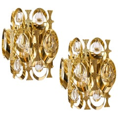Pair of Crystal and Gold-Plated Sciolari Wall Sconces, Italy, 1960