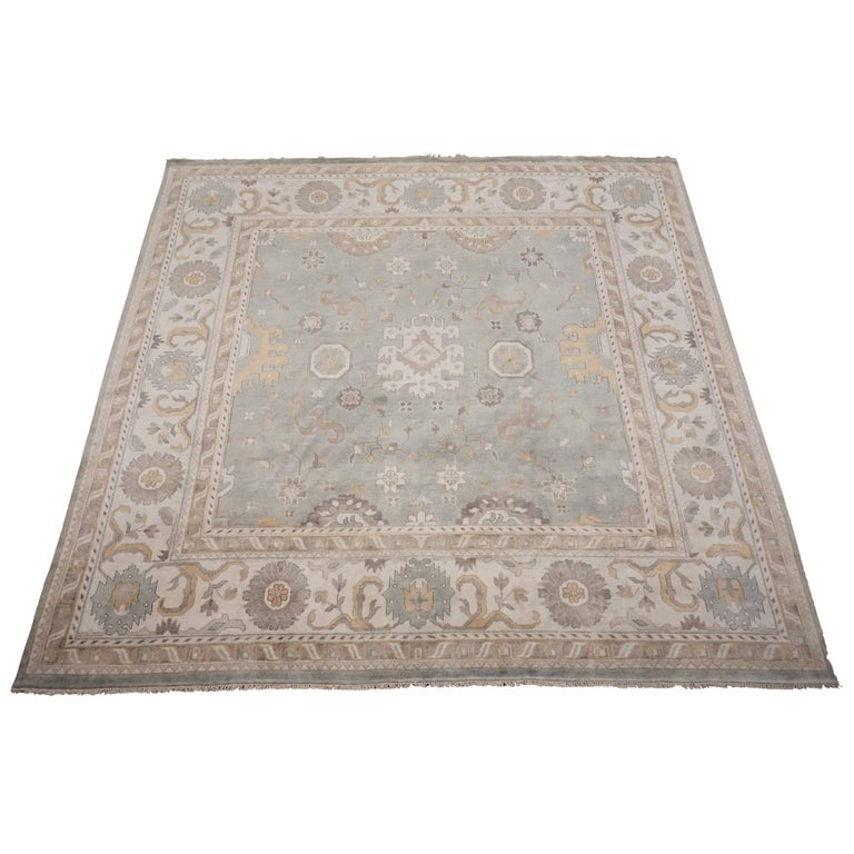 Blue-Green Square Oushak Area Rug With Beige Border For