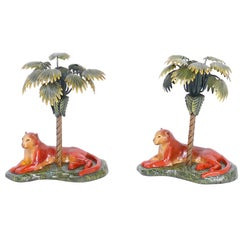 Pair of British Colonial Palm Tree and Big Cat Metal Candlesticks