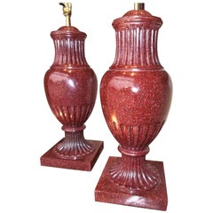 Large Pair of Swedish Oxblood Faux Porphyry Urns Mounted as Lamps