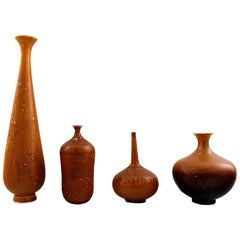 Yngve Blixt for Höganäs, Collection of Unique Ceramic Vases in Brown Glazes