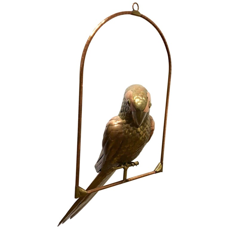 Extra Large Hanging Perched Parrot by Sergio Bustamante in Brass and Copper