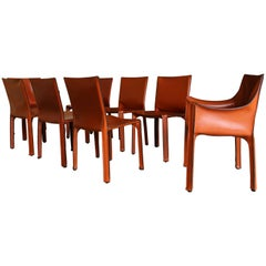 Set of Eight Mario Bellini Cab Dining Chairs for Cassina